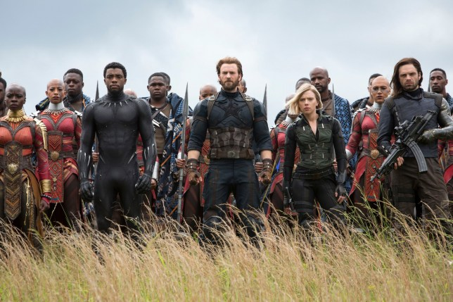 "No Merchandising. Editorial Use Only. No Book Cover Usage Mandatory Credit: Photo by Marvel/Disney/Kobal/REX/Shutterstock (9641147r) Danai Gurira, Chadwick Boseman), Chris Evans, Scarlett Johansson, Sebastian Stan ""Marvel's Avengers: Infinity War"" Film - 2018"