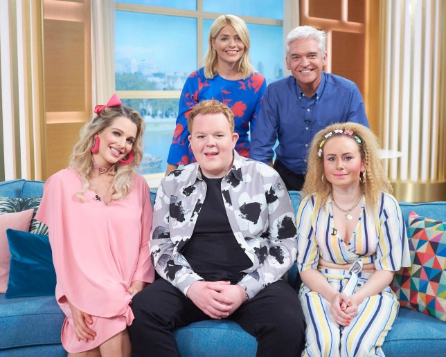 EDITORIAL USE ONLY. NO MERCHANDISING THESE IMAGES WERE EMBARGOED UNTIL TODAY 26TH MAY 2018 Mandatory Credit: Photo by Ken McKay/ITV/REX/Shutterstock (9665399cv) Holly Willoughby and Phillip Schofield, Helen Flanagan, Colson Smith and Dolly-Rose Campbell 'This Morning' TV show, London, UK - 08 May 2018