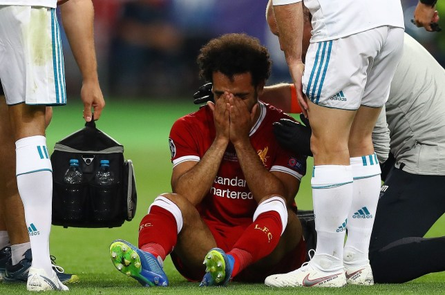 Mandatory Credit: Photo by Kieran McManus/BPI/REX/Shutterstock (9694071cv) Mohamed Salah of Liverpool cures on the pitch shortly before being substituted Real Madrid v Liverpool, UEFA Champions League Final, Olimpiyskiy National Sports Complex Stadium, Kiev, UA, 26 May 2018