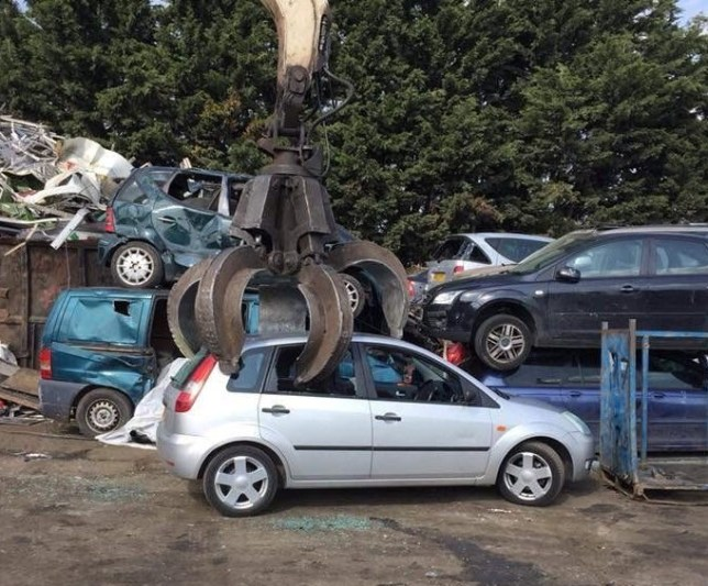 Car thief sends picture of vehicle being crushed at scrapyard to