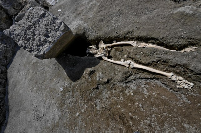 epa06770170 The skeleton of a victim of the eruption that destroyed Pompeii, was discovered during the most recent excavations carried out on the archaeological site in Pompei, Italy, 29 May 2018. These are the remains of a 35-year-old man, limping, hit by a pyroclastic cloud while, forced to linger by his physical disability, he turned to look at Vesuvius. EPA/CIRO FUSCO