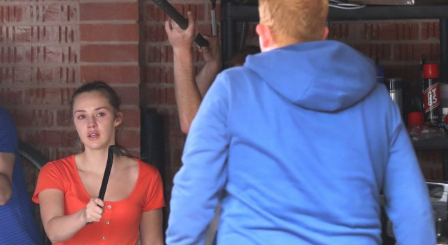 31.5.18???.. Coronation Streets Kayla Westbrook (played by Mollie Wannard) who is the daughter of bent copper Neil Clifton, take Bethany Platt hostage (played by Lucy Fallon) in her garrage but ex policeman Craig Tinker (played by Colson Smith) turns up to save the day but Kayla waves a crow bar at him.