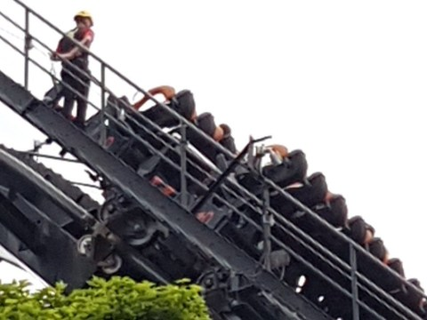 Alton Towers visitors left dangling 180ft in the air on vertical drop Oblivion rollercoaster