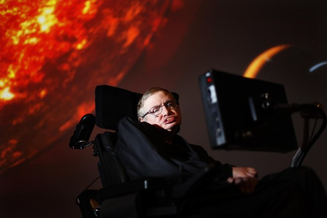 Professor Stephen Hawking, who has died aged 76, watching the first preview of his new show for the Discovery Channel, Stephen Hawking's Universe. PRESS ASSOCIATION Photo. Issue date: Wednesday March 14, 2018. See PA story DEATH Hawking. Photo credit should read: David Parry/PA Wire