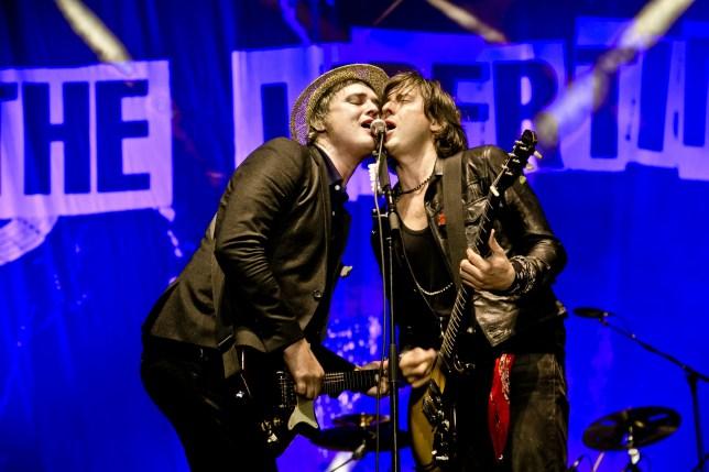 Mandatory Credit: Photo by RMV/REX/Shutterstock (5074129f) Pete Doherty, Carl Barat - The Libertines at Airport Berlin-Tempelhof Lollapalooza Festival, Berlin, Germany - 12 Sep 2015