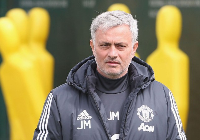 MANCHESTER, ENGLAND - APRIL 28: (EXCLUSIVE COVERAGE) Manager Jose Mourinho of Manchester United in action during a first team training session at Aon Training Complex on April 28, 2018 in Manchester, England. (Photo by Matthew Peters/Man Utd via Getty Images)
