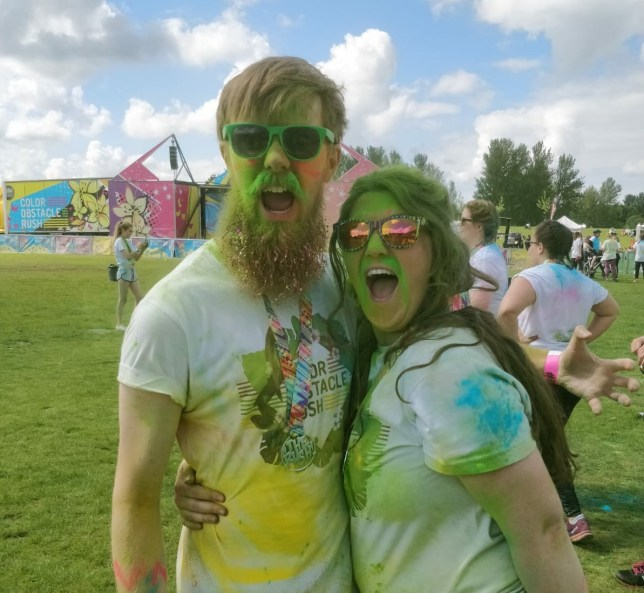 Fiishing The 5k Colour Rush in Milton Keynes in June with fiance Jethro, 24 (Picture: Emmie Harrison)