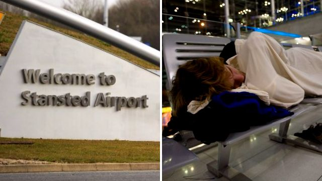 Fury as Stansted Airport bans passengers from napping on the floor'