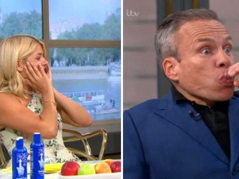 Holly Willoughby left stunned after Warwick Davis appears to neck tube of p*ss live on air