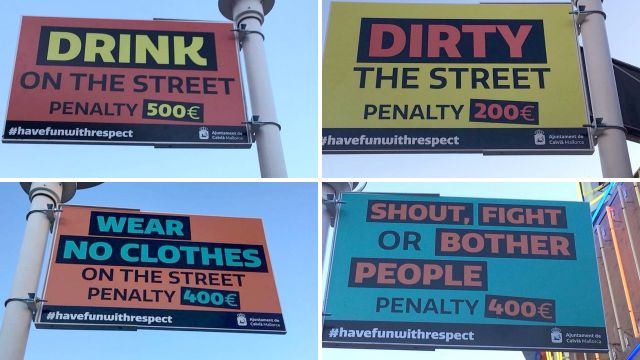 English-language signs put up in Magaluf urging people to behave or be fined