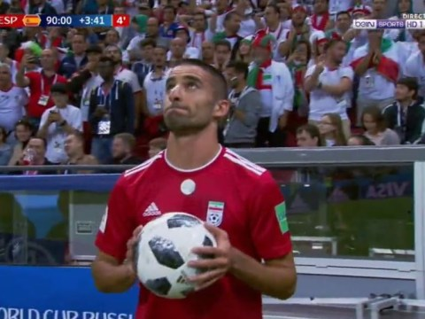 Iran defender fails with flip throw-in during World Cup defeat to Spain