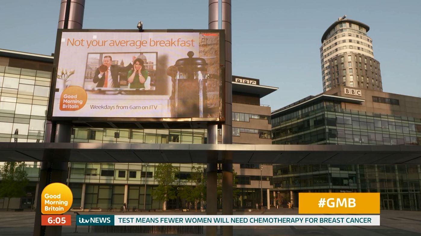 Dan Walker fires back as Piers Morgan trolls BBC Breakfast with Good Morning Britain poster outside Salford studios