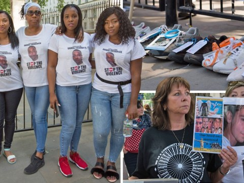 Families of stabbing victims lay empty shoes in Downing Street to protest knife crime
