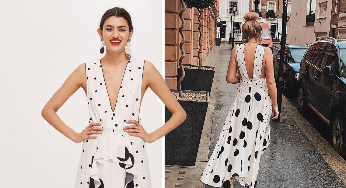 Caption: Mix Spotted Midi Dress (Picture: Topshop; amelia_copeman/Instagram)