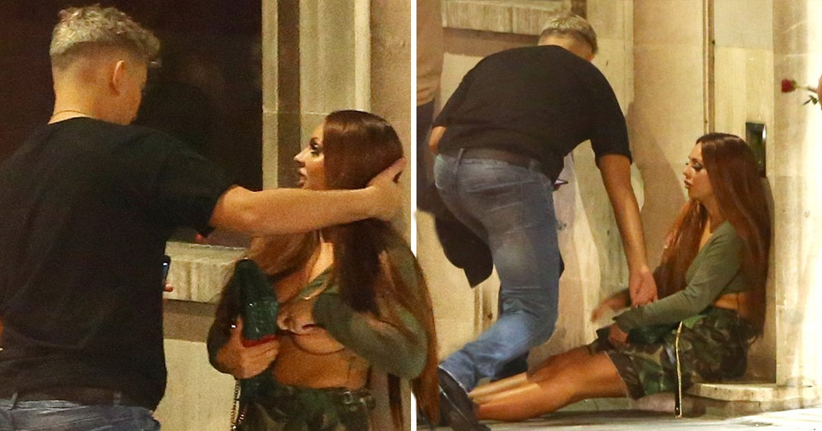 Little Mix's Jesy Nelson exposes her boobs as she's helped off floor after messy night out