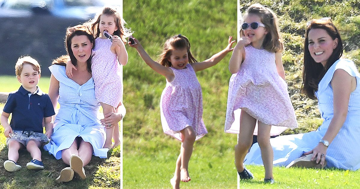 Confident Charlotte has Kate laughing with gymnastics display as William plays polo