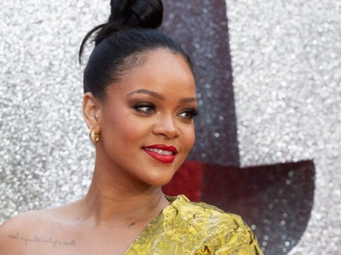 Rihanna pulls off Quality Street chic in gold foil dress after turning up late to Ocean's 8 premiere