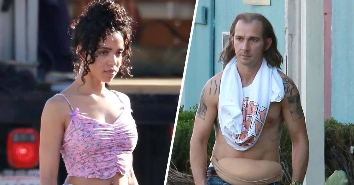 Shia LaBeouf sports prosthetic paunch and receding hairline as he films with FKA twigs