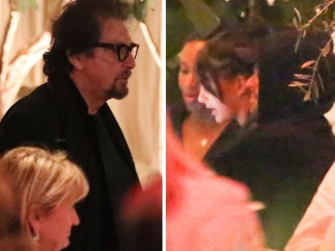 Leonardo DiCaprio gets serious as he dines with girlfriend Camila Morrone and her step-dad Al Pacino