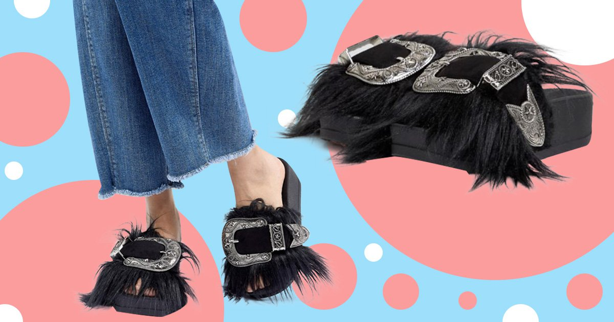 Channel your inner Western wolf in these furry buckled sandals