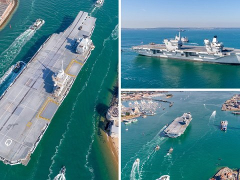 HMS Queen Elizabeth squeezes into harbour on her return to Portsmouth