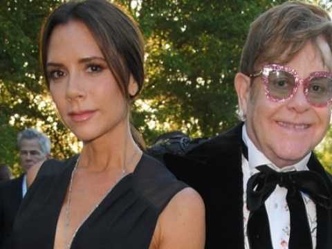 Elton John gets a rare grin out of Victoria Beckham as they cosy up at AIDS charity ball with Liz Hurley