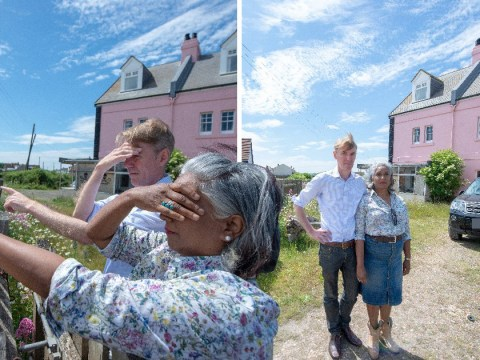 Couple in pink house banned from looking into neighbour's home