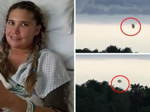 Parasailer filmed crashing into airport during storm leaving her with broken pelvis