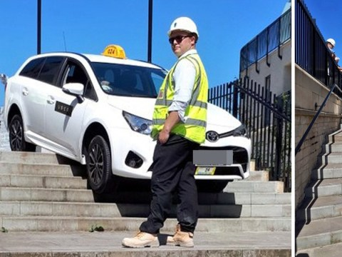 Uber driver gets stuck while trying to drive down stairs in city centre