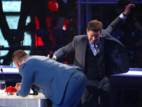 Declan Donnelly spanks David Walliams for chucking confetti at him on Britain's Got Talent
