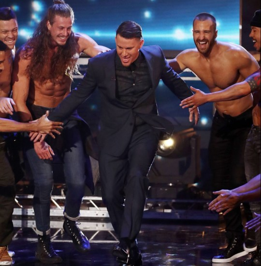Editorial Use Only - No Merchandising Mandatory Credit: Photo by Dymond/Thames/Syco/REX/Shutterstock (9699621jd) Channing Tatum with Magic Mike The Musical 'Britain's Got Talent' TV show, Series 12, Episode 13, The Final, London, UK - 03 Jun 2018