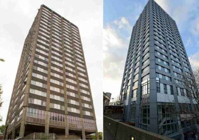 Undated handout photo issued by the Grenfell Tower Inquiry of the tower before (left) and after refurbishment work. PRESS ASSOCIATION Photo. Issue date: Monday June 4, 2018. Seventy-one people were killed after the fire tore through the housing block in Kensington, west London last year. See PA story INQUIRY Grenfell. Photo credit should read: Grenfell Tower Inquiry/PA Wire NOTE TO EDITORS: This handout photo may only be used in for editorial reporting purposes for the contemporaneous illustration of events, things or the people in the image or facts mentioned in the caption. Reuse of the picture may require further permission from the copyright holder.