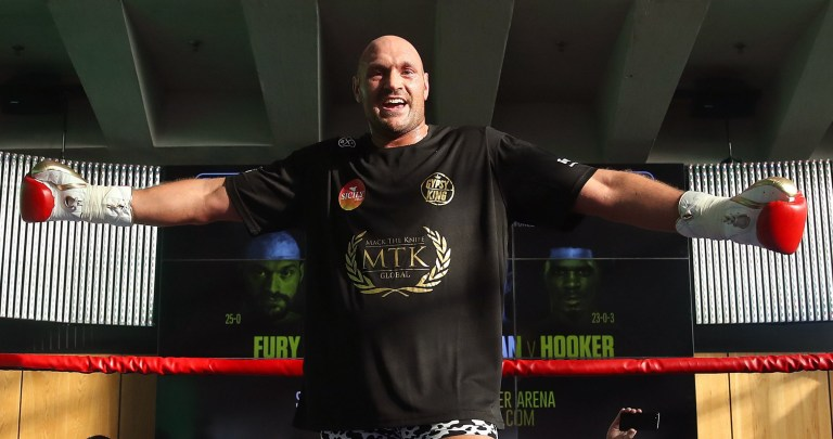 Tyson Fury during the public workout at the National Football Museum, Manchester. PRESS ASSOCIATION Photo. Picture date: Tuesday June 5, 2018. See PA story BOXING Manchester. Photo credit should read: Nick Potts/PA Wire