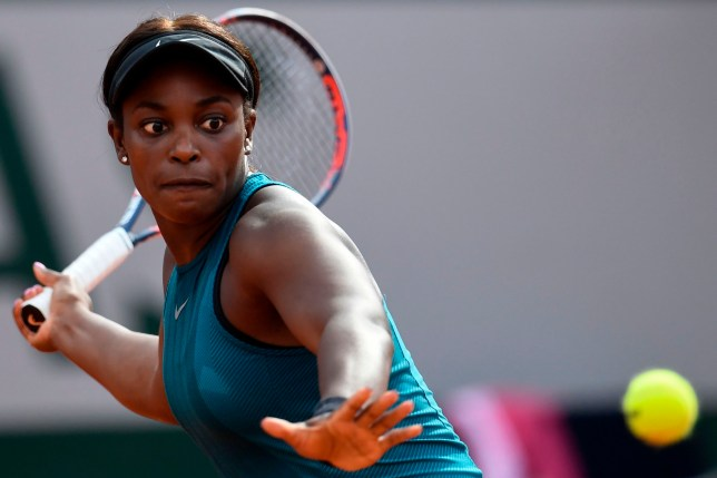 Sloane Stephens of the US returns the ball to Madison Keys the US during their women's singles semi-final match on day twelve of The Roland Garros 2018 French Open tennis tournament in Paris on June 7, 2018. / AFP PHOTO / CHRISTOPHE SIMONCHRISTOPHE SIMON/AFP/Getty Images