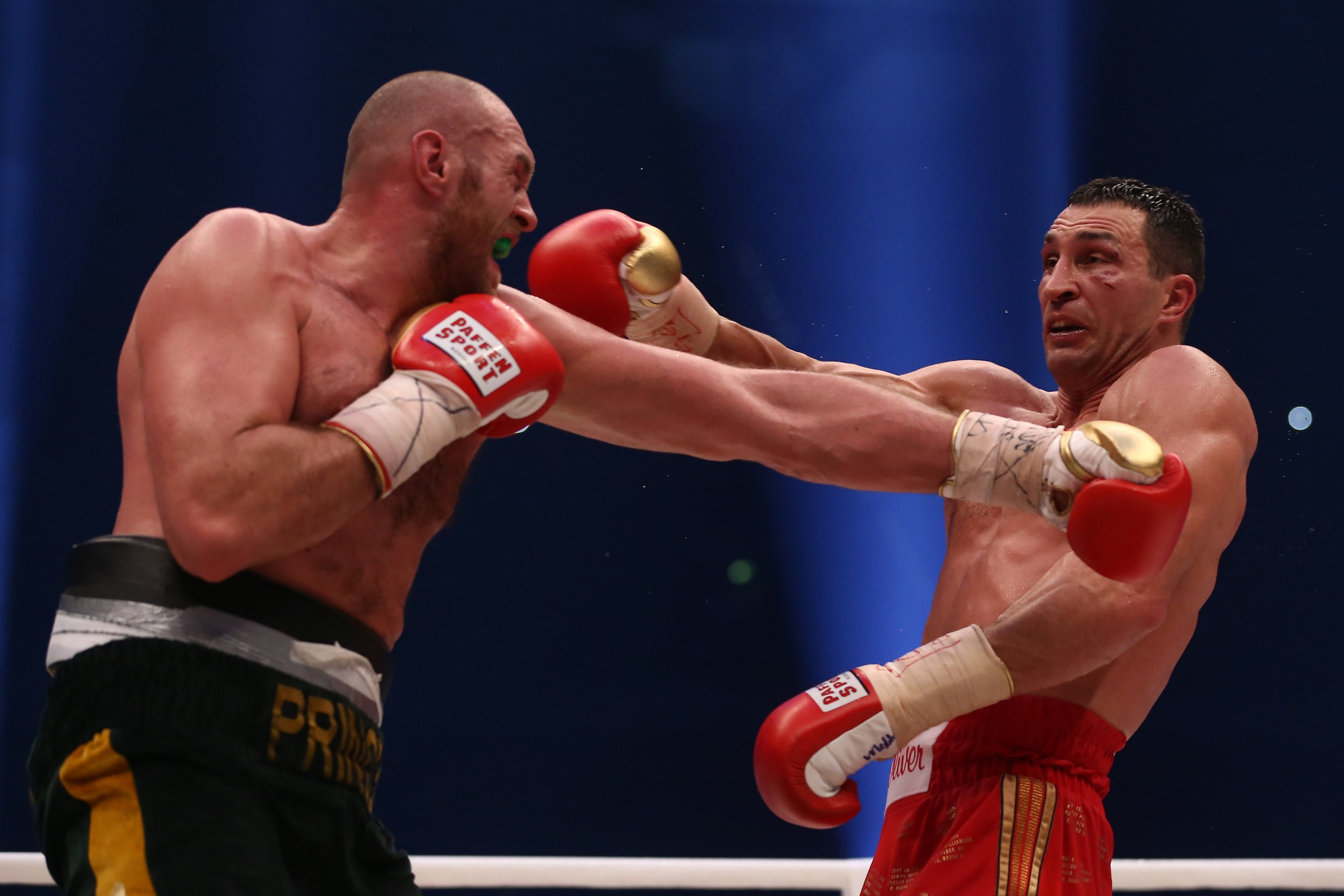 Mandatory Credit: Photo by Action Press/REX/Shutterstock (5450179bf) Wladimir Klitschko and Tyson Fury Wladimir Klitschko vs Tyson Fury, Boxing World Heavyweight title, Dusseldorf, Germany - 28 Nov 2015