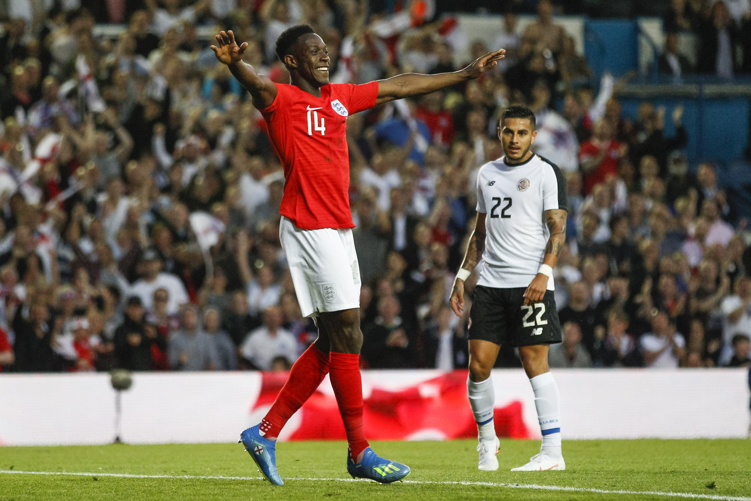 Danny Welbeck of England celebrates after scoring his side's second goal to make the score 2-0 during the International Friendly match between England and Costa Rica at Elland Road on June 7th 2018 in Leeds, England. (Photo by Daniel Chesterton/phcimages.com)
