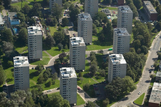 Aerial View of Apartments Blocks on a Council Estate, London, England