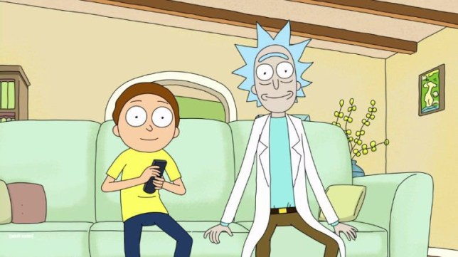 rick and morty watching tv