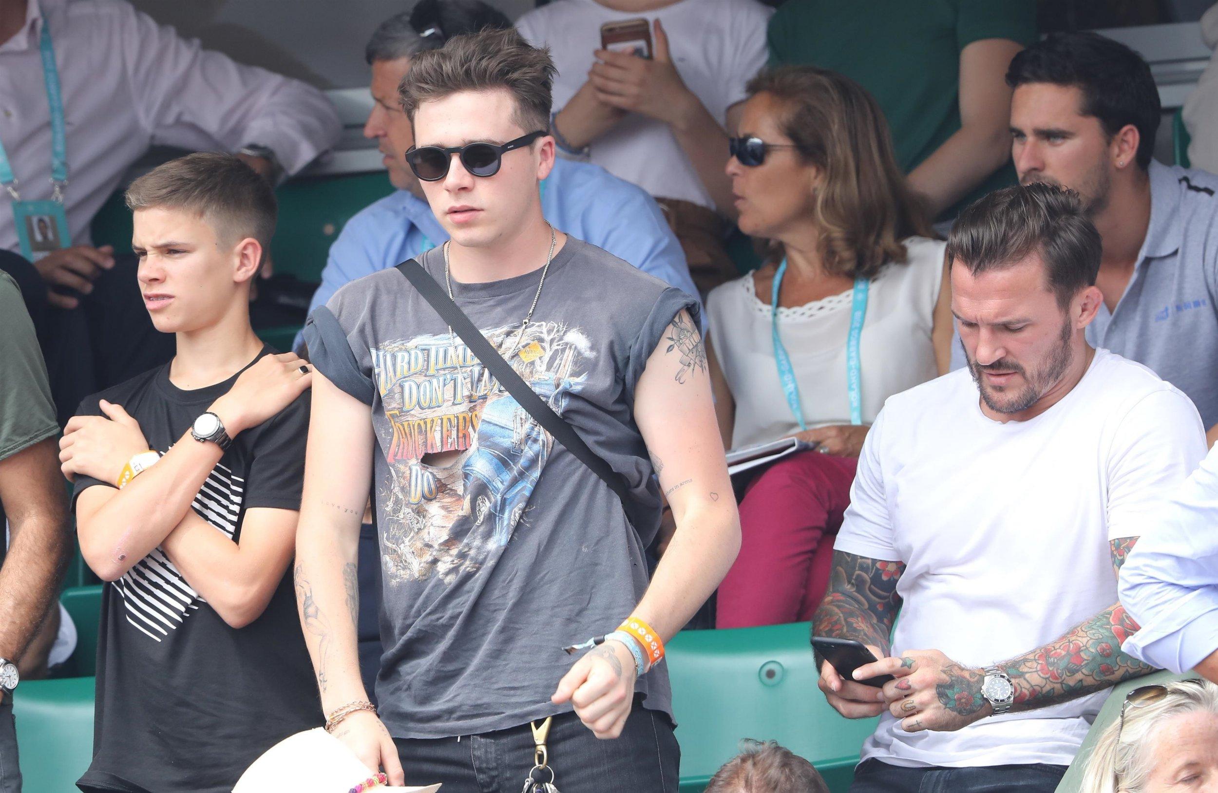 BGUK_1258768 - ** RIGHTS: ONLY UNITED KINGDOM ** Paris, FRANCE - Romeo and Brooklyn Beckham attend the french open at Roland Garros in Paris Pictured: Romeo Beckham - Brooklyn Beckham BACKGRID UK 10 JUNE 2018 BYLINE MUST READ: BEST IMAGE / BACKGRID UK: +44 208 344 2007 / uksales@backgrid.com USA: +1 310 798 9111 / usasales@backgrid.com *UK Clients - Pictures Containing Children Please Pixelate Face Prior To Publication*