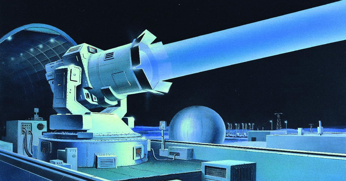 SOVIET GROUND-BASED LASER The Soviet Strategic Defense Program involved extensive research on advanced technologies in the 1980s. The USSR already had ground-based lasers, conceptually illustrated here, capable of interfering with some US satellites. This image or file is a work of a Defense Intelligence Agency employee, taken or made as part of that person's official duties. As a work of the U.S. federal government, the image is in the public domain. Credit: Edward L. Cooper / Wikimedia