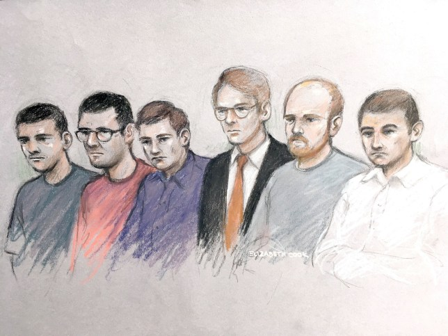 Court artist sketch by Elizabeth Cook of (left to right) Garron Helm, Michal Trubini, Andrew Clarke, Matthew Hankinson, Christopher Lythgoe and Jack Renshaw at The Old Bailey, London. The court has heard that Renshaw, 23, has pleaded guilty, after he bought a 19inch long Gladius Machete to kill Labour's Rosie Cooper last summer. PRESS ASSOCIATION Photo. Picture date: Tuesday June 12, 2018. Jurors were told that the murderous scheme was foiled by disenchanted former National Action member Robbie Mullen who reported the threat to Hope Not Hate. See PA story COURTS MP. Photo credit should read: Elizabeth Cook/PA Wire