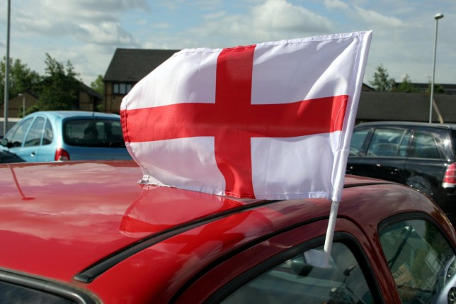 Mandatory Credit: Photo by Per Lindgren/REX/Shutterstock (590694t) ENGLAND SUPPORTERS FLAG ON CAR STOCK - 2006
