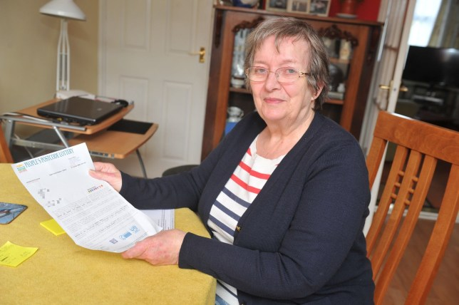 A pensioner has told how she outfoxed scammers who tried to convince her she had scooped ?375,000 on the People's Postcode Lottery. Maureen Rymer, 77, who has been playing the lottery for the past two years, received the convincing letter in the post. Caption: Maureen Rymer of Hedon, East Yorkshire, who spotted that a letter claiming she had won ?375,000 was a scam