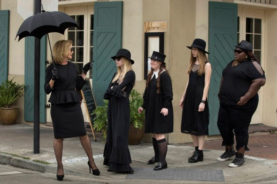AMERICAN HORROR STORY: COVEN - (L-R): Jessica Lange as Fiona, Emma Roberts as Madison, Jamie Brewer as Nan, Taissa Farmiga as Zoe, Gabourey Sidibe as Queenie -- CR. Michele K. Short/FX