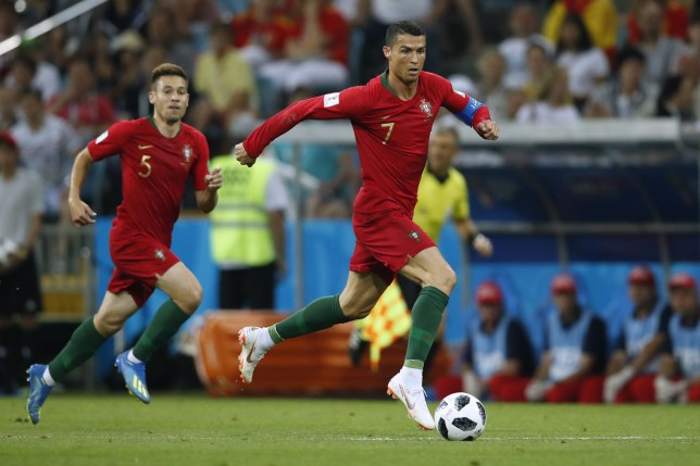 Portugal's forward Cristiano Ronaldo controls the ball during the Russia 2018 World Cup Group B football match between Portugal and Spain at the Fisht Stadium in Sochi on June 15, 2018. / AFP PHOTO / Odd ANDERSEN / RESTRICTED TO EDITORIAL USE - NO MOBILE PUSH ALERTS/DOWNLOADSODD ANDERSEN/AFP/Getty Images