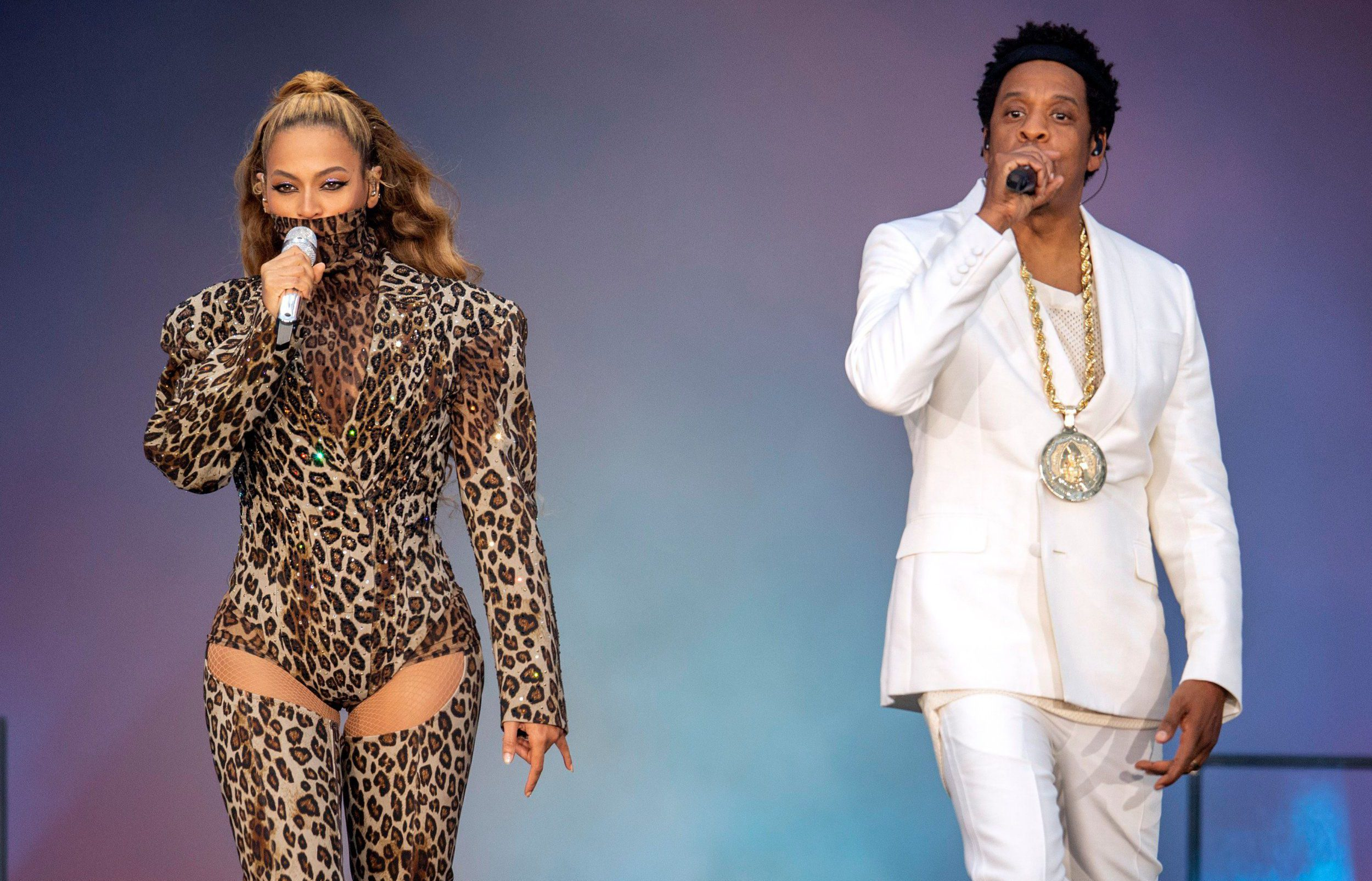 Mandatory Credit: Photo by James Gourley/PictureGroup/REX/Shutterstock (9716444c) Beyonce and Jay-Z in concert, 'On The Run II Tour', The London Stadium, UK - 16 Jun 2018