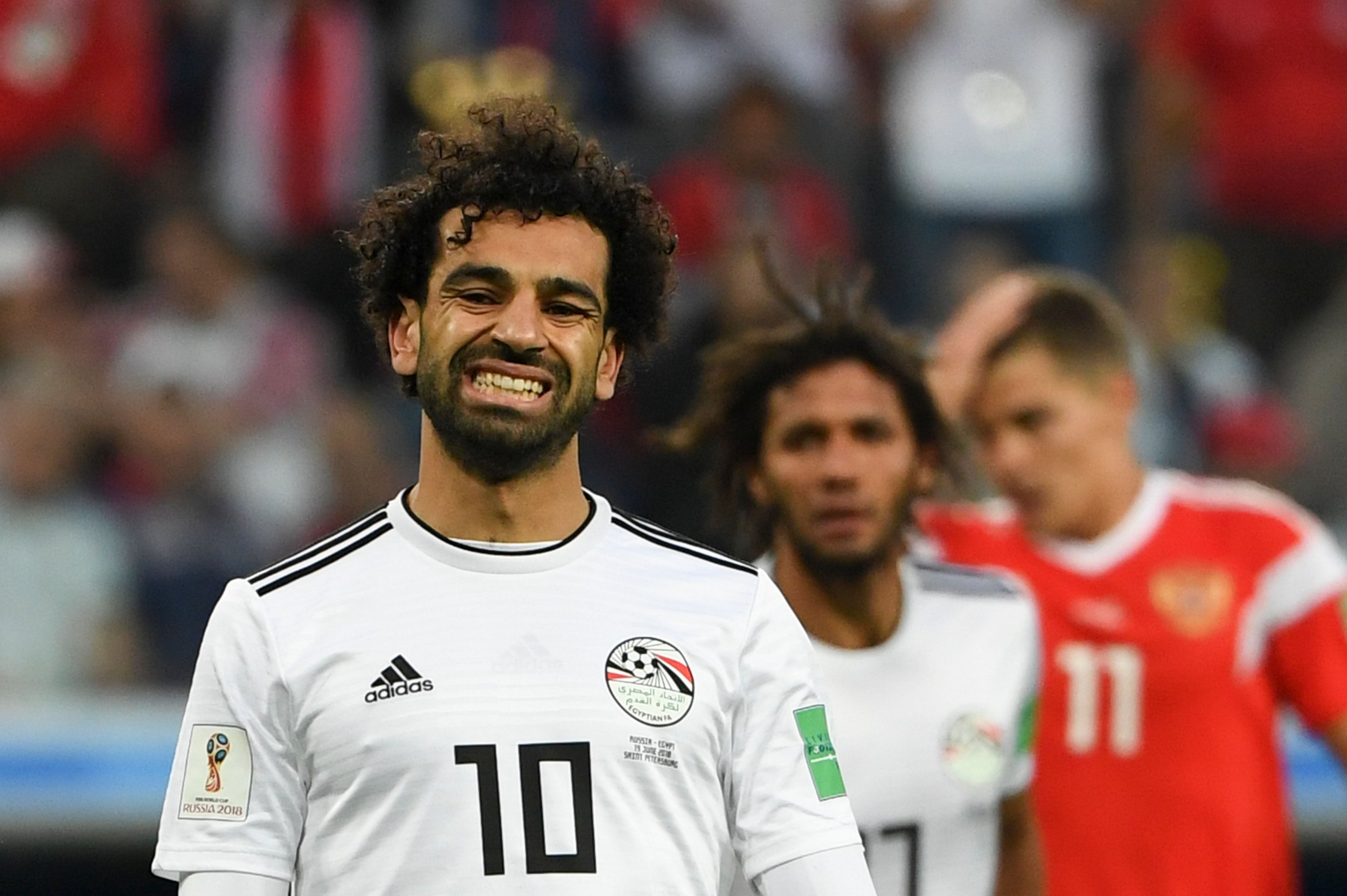 Egypt's forward Mohamed Salah reacts during the Russia 2018 World Cup Group A football match between Russia and Egypt at the Saint Petersburg Stadium in Saint Petersburg on June 19, 2018. / AFP PHOTO / Paul ELLIS / RESTRICTED TO EDITORIAL USE - NO MOBILE PUSH ALERTS/DOWNLOADSPAUL ELLIS/AFP/Getty Images