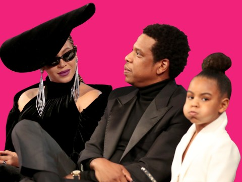 Blue Ivy has one of those 'embarrassing parents' moments as she watches Beyonce and Jay-Z's OTR II tour