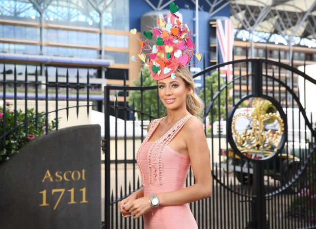 EDITORIAL USE ONLY Olivia Attwood arrived at Royal Ascot wearing a Love Island themed hat, commissioned by bookmakers Coral to celebrate its #LoveRacing campaign, in Berkshire. PRESS ASSOCIATION Photo. Picture date: Thursday June 21, 2018. The hat, which featuring a selection of hearts on a coral reef structure, has been specially designed by Milliner Ilda Di Vico. Photo credit should read: Matt Alexander/PA Wire