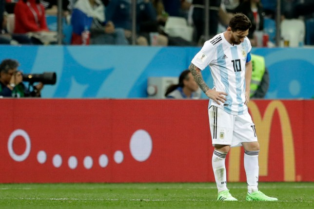 Argentina's Lionel Messi reacts after the second goal of Croatia during the group D match between Argentina and Croatia at the 2018 soccer World Cup in Nizhny Novgorod Stadium in Nizhny Novgorod, Russia, Thursday, June 21, 2018. (AP Photo/Petr David Josek)